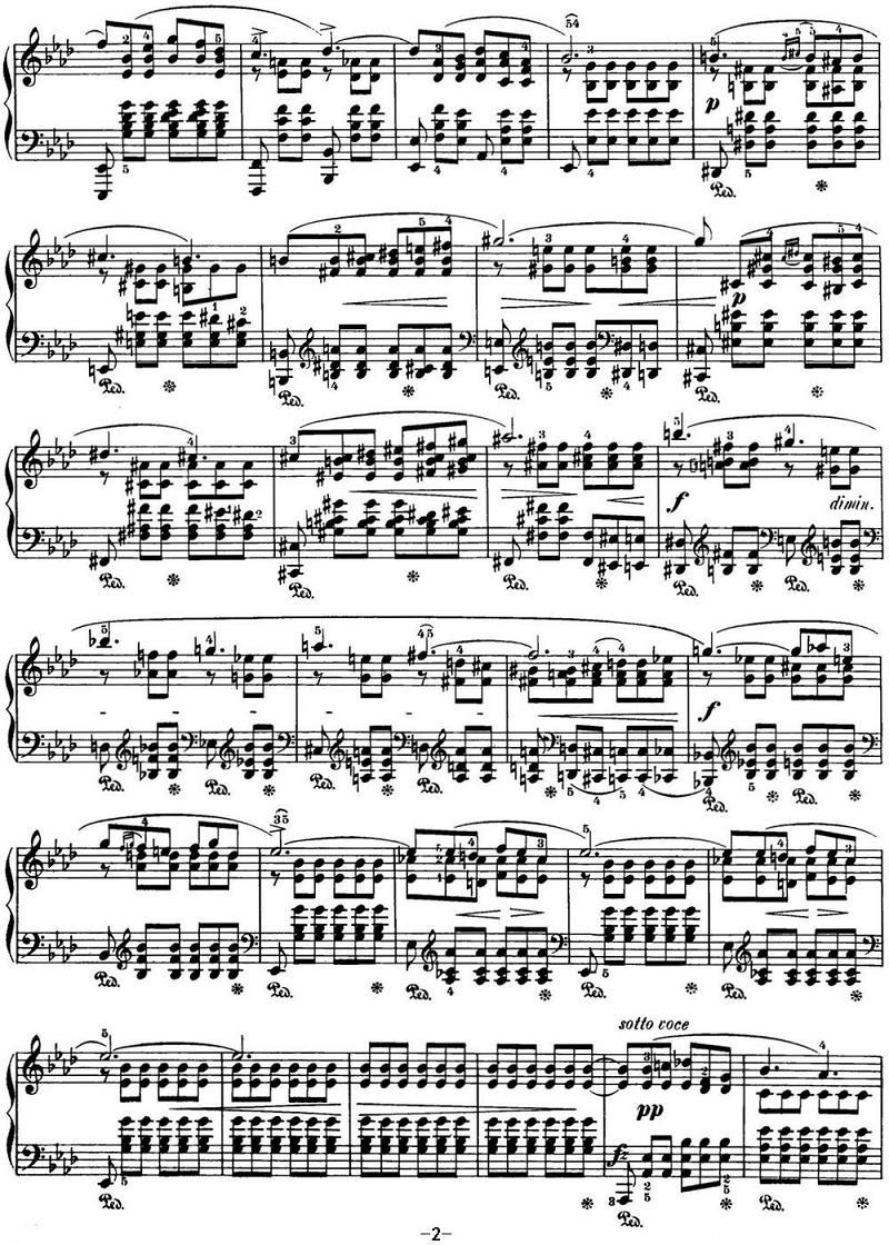 钢琴曲谱:肖邦24首前奏曲op.28 no.17 降a大调