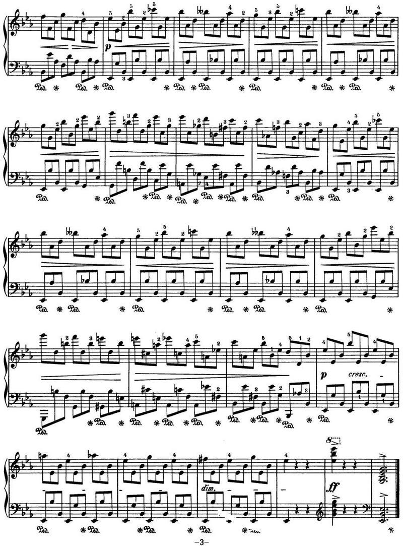 钢琴曲谱 肖邦24首前奏曲Op.28 No.19 降E大调