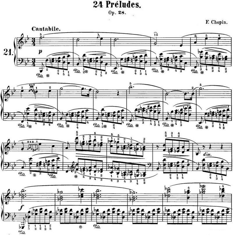 钢琴曲谱 肖邦24首前奏曲Op.28 No.21 降B大调