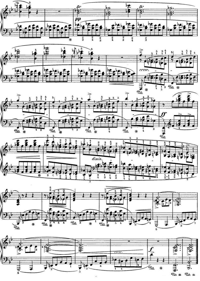钢琴曲谱:肖邦24首前奏曲op.28 no.21 降b大调