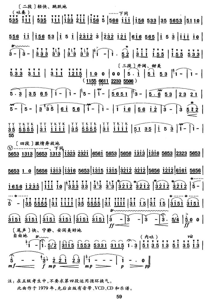 笛子曲谱:《撒尼谣》