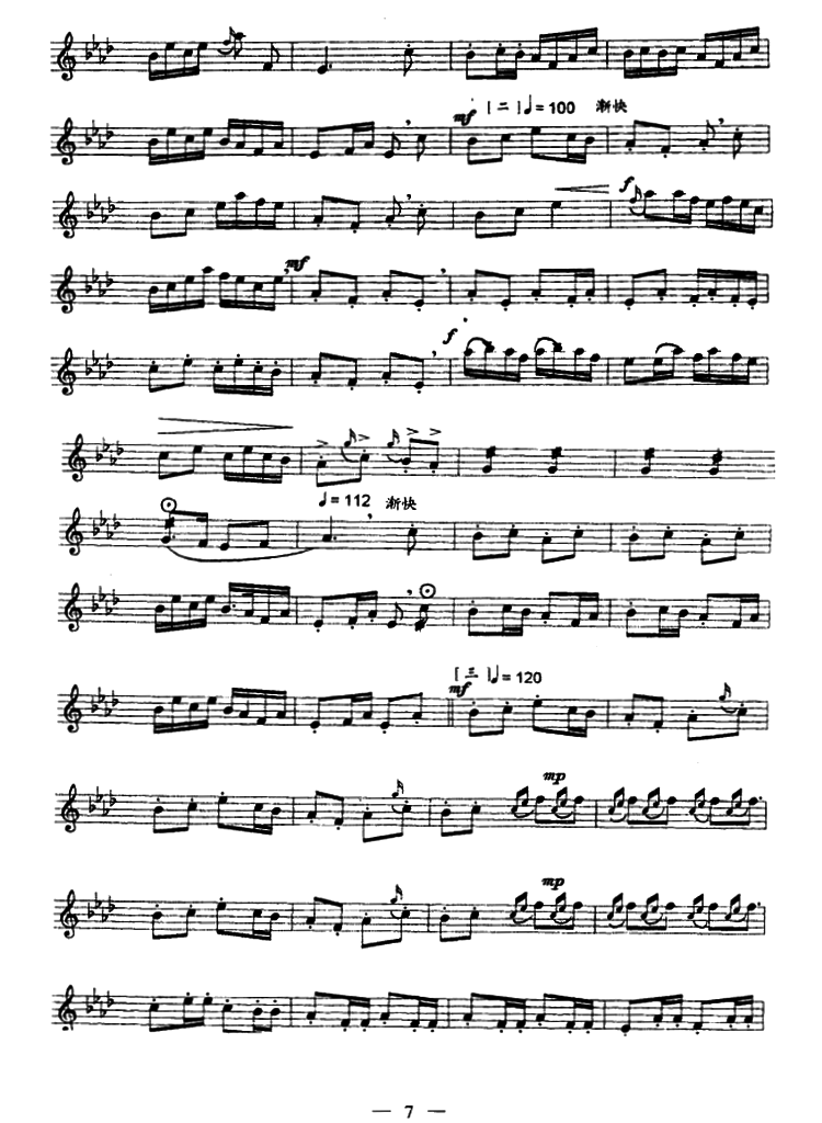 笛子曲谱 喜相逢