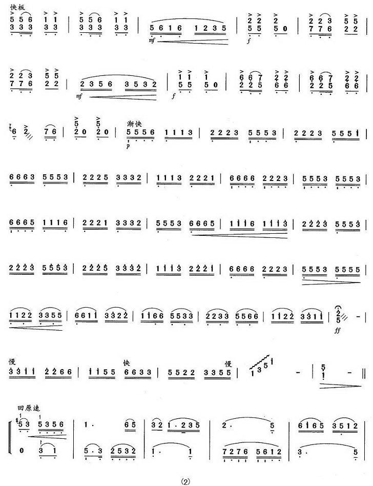 扬琴曲谱:《珠落玉盘》