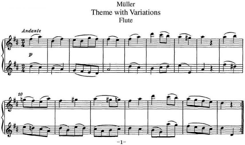 长笛曲谱 弥勒长笛二重奏