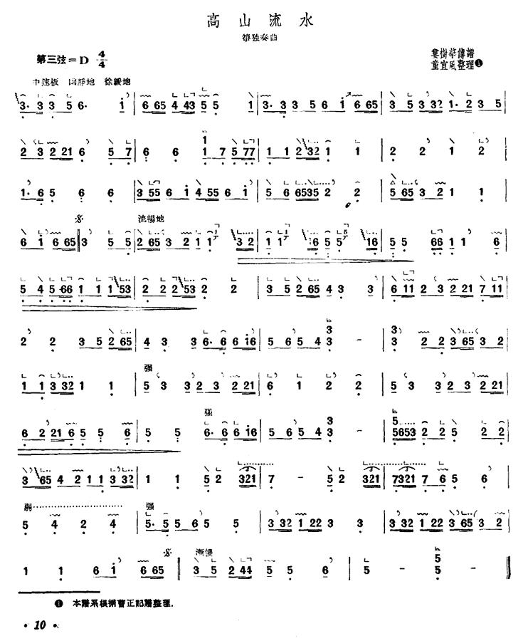 古筝独奏曲谱 高山流水