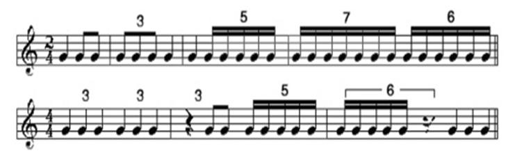 乐理基础知识:混合拍子 连音符 第五节 混合拍子 第六节 连音符 混合拍子,顾名思义,它不是单一的拍子,而是有不同类的拍子组合起来的拍子。所谓不同类是指分母相同而分子不同的拍子出现在同一小节内。叫做混合拍子。这种拍子是每小节由强弱等数交替和强弱不等数交替出现,也就是相同单位拍,两拍和三拍的单拍子加在一起形成的拍子,比如2/4+3/4=5/4拍,那么这个5/4拍就是混合拍子。 谱例1:  还有一种组合方法是反过来,3/4+2/4=5/4拍。  注:混合拍子中在每小节里只可以有一个强音,因此第二组或第三组的强