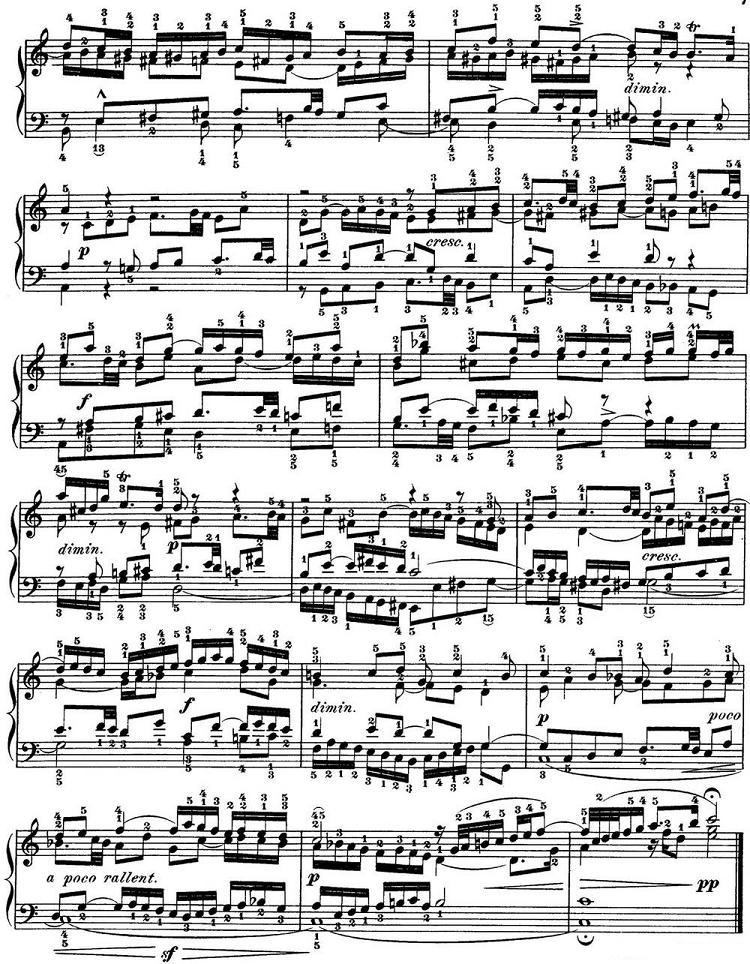 钢琴曲谱 巴赫 平均律钢琴曲集 第一卷 赋格曲 NO.1