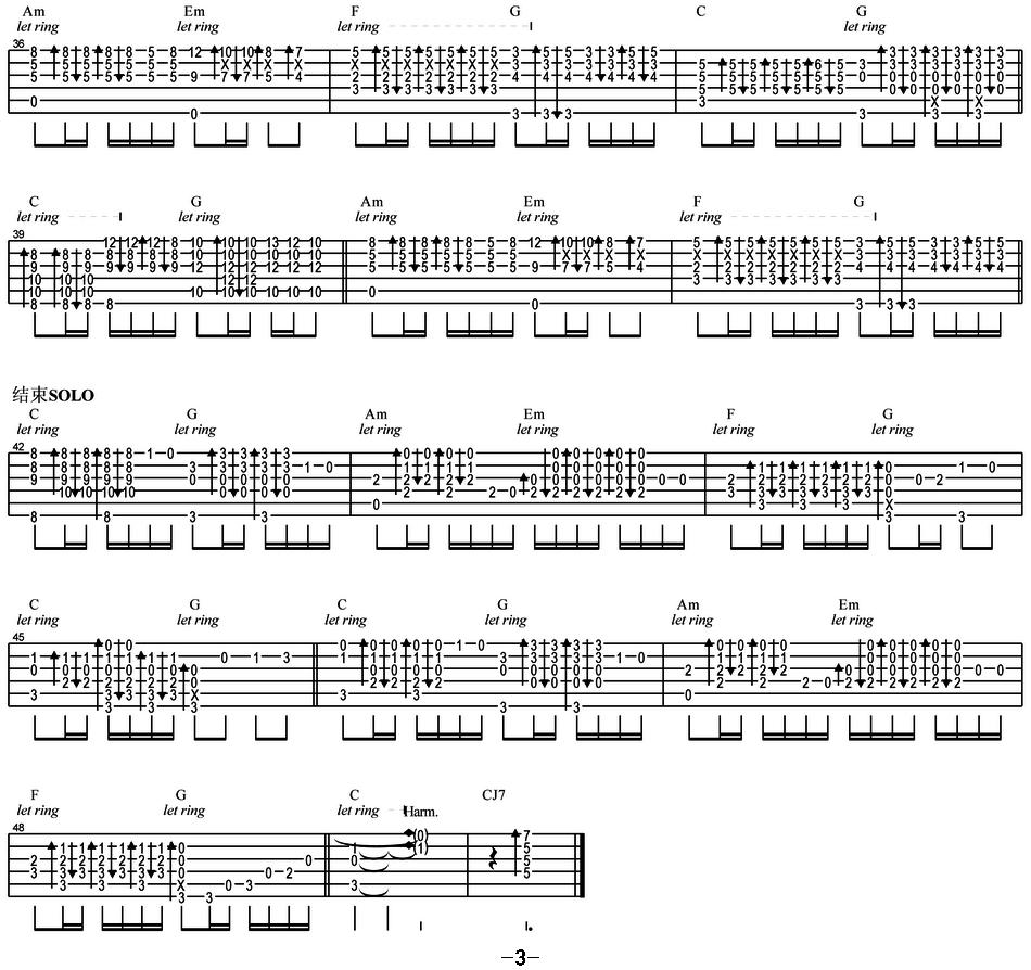 吉他曲谱:《光辉岁月》(指弹谱)
