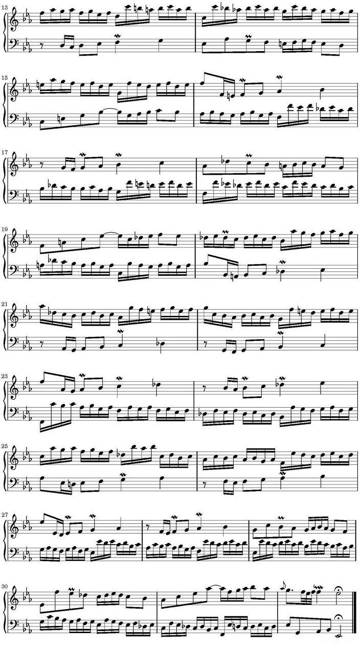 钢琴曲谱:巴赫二部创意曲集15首之五