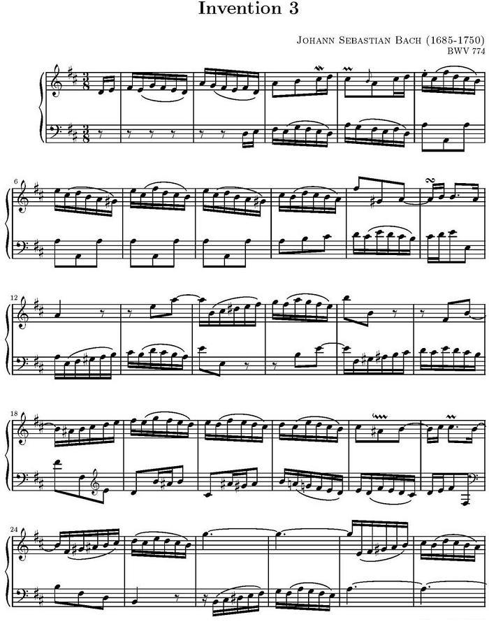 钢琴曲谱 巴赫二部创意曲集15首之三