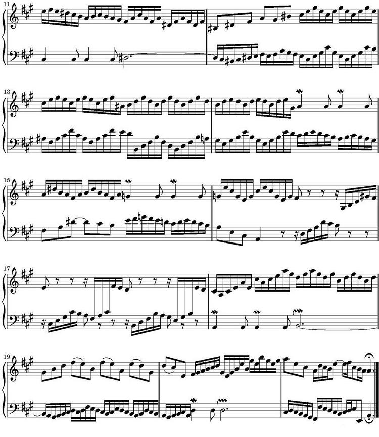 钢琴曲谱 巴赫二部创意曲集15首之十二