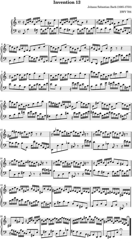 钢琴曲谱:巴赫二部创意曲集15首之十三