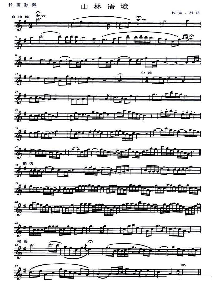 长笛独奏谱:山林语境