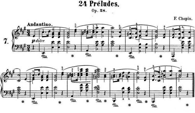 钢琴曲谱:肖邦24首前奏曲 op.28 no.7 a大调