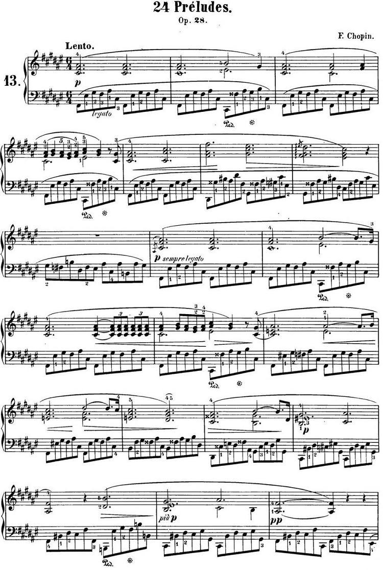 钢琴曲谱 肖邦24首前奏曲 Op.28 No.13 升F大调