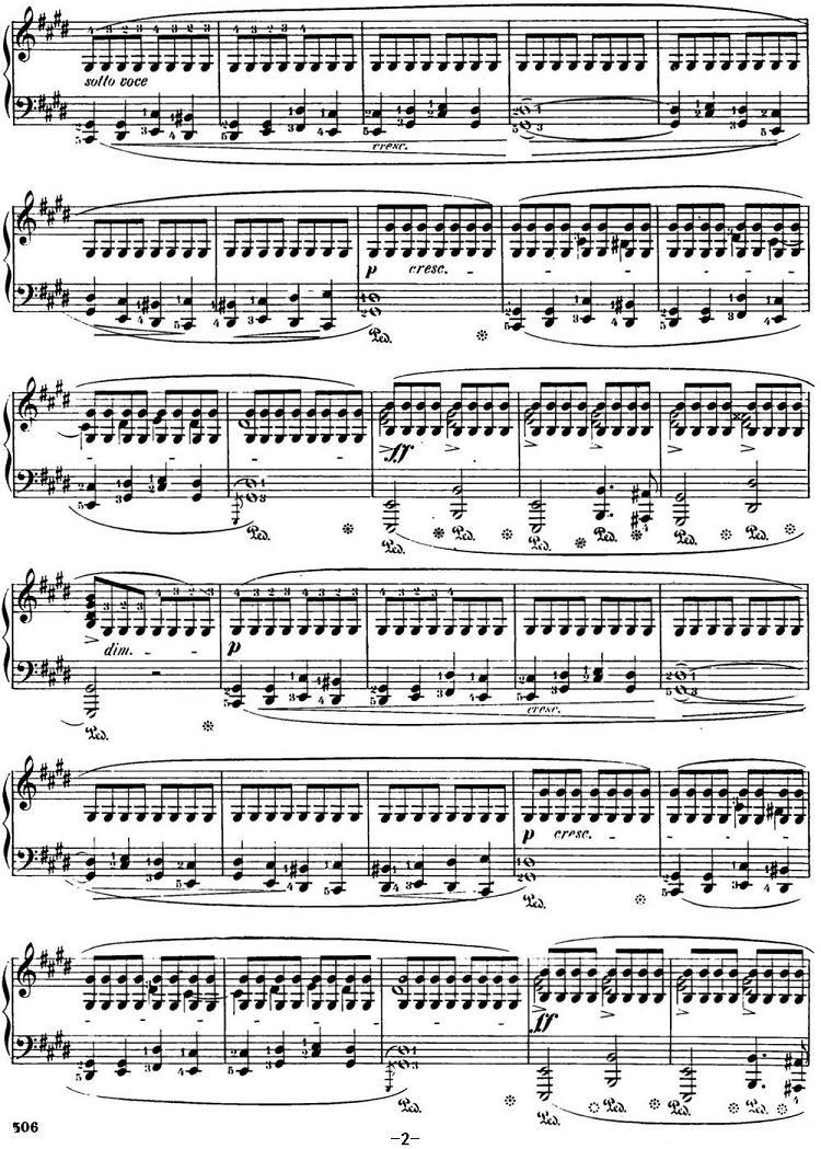 钢琴曲谱 肖邦24首前奏曲 Op.28 No.15 降D大调