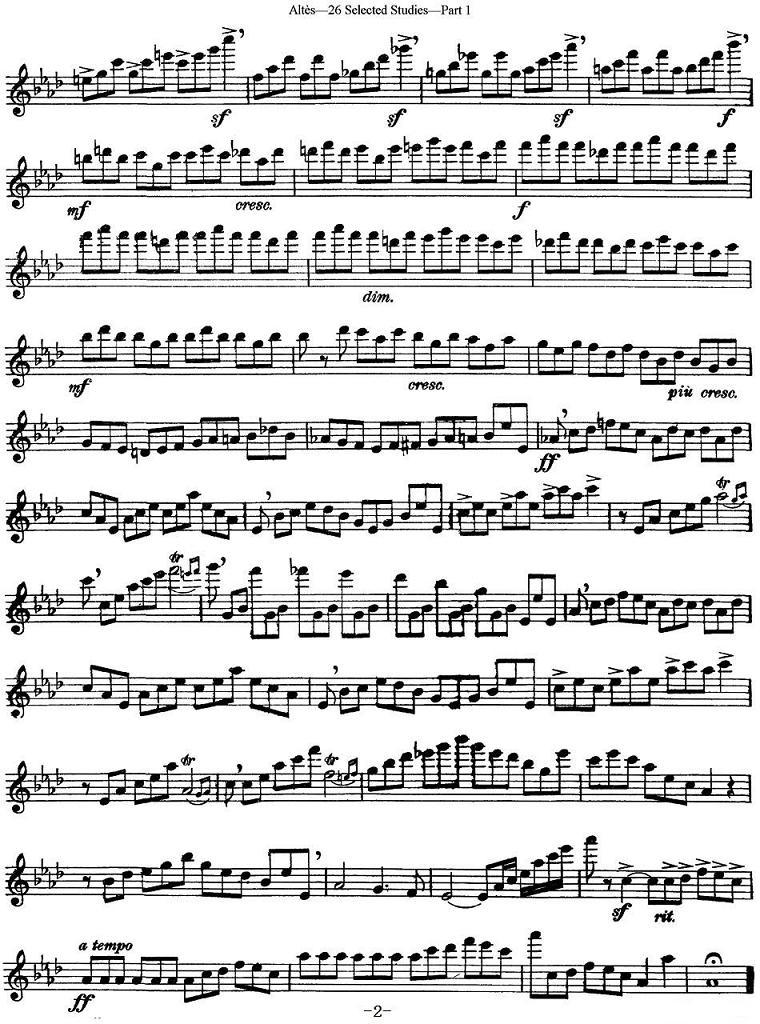 长笛曲谱:《阿尔泰斯26首长笛练习曲(no.1)》