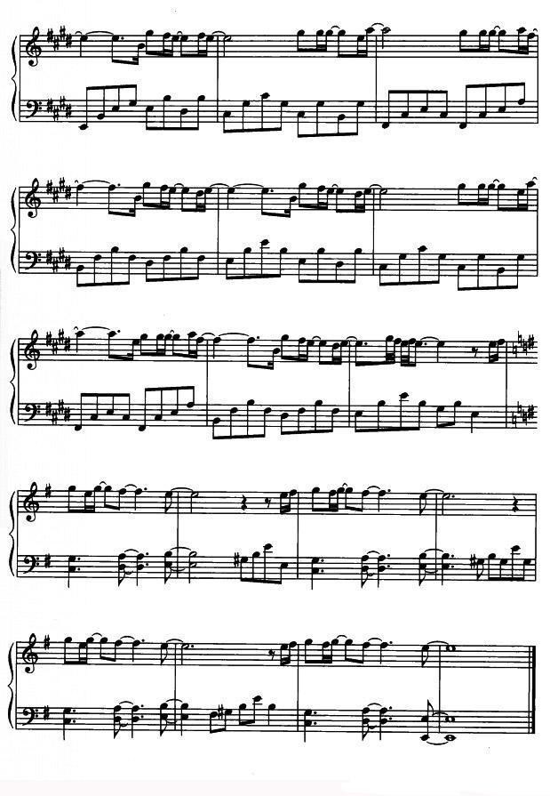钢琴曲谱 你并不孤单