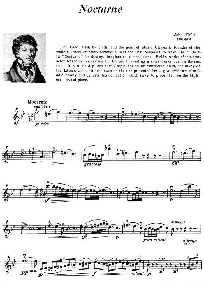 小提琴曲谱 夜曲 Nocturne