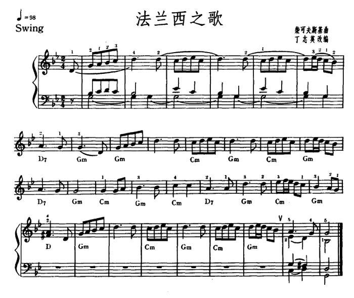 电子琴曲谱:《法兰西之歌》